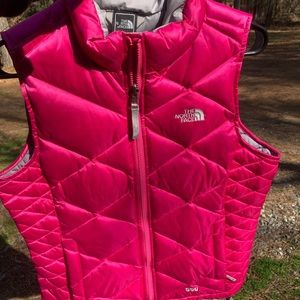 Hot pink north face puffer vest